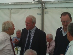 George Downton and Deadly Derek catch up, watched by Chris Tavaré