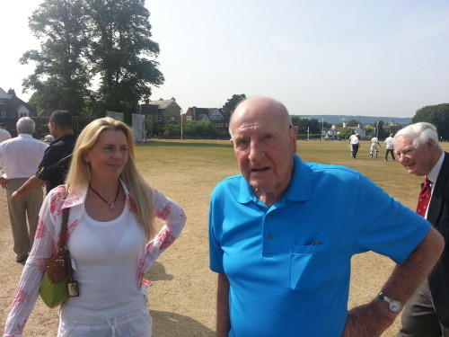 Jack Stead (94*) and his daughetr Emma, with Peter Williams. Jack's skipper, in the background
